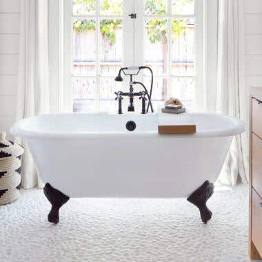 CAMBRIDGE CAST IRON DOUBLE ENDED CLAWFOOT TUB - RIM FAUCET DRILLINGS
