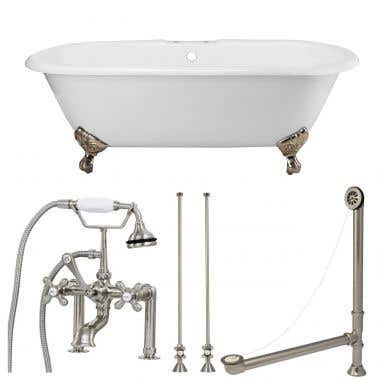 Randolph Morris Tub Package 25: 60-inch Clawfoot Bathtub with British Telephone Bath Tub Faucet with Fixtures