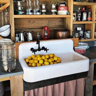 Cora 42 Inch Cast Iron Farmhouse Drainboard Sink - 8 Inch Faucet Drillings - White