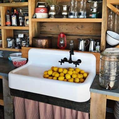 Randolph Morris Cora Cast Iron Farmhouse Drainboard Sink