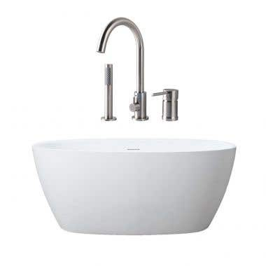 Luna Matte White Acrylic Double Ended Freestanding Tub Package