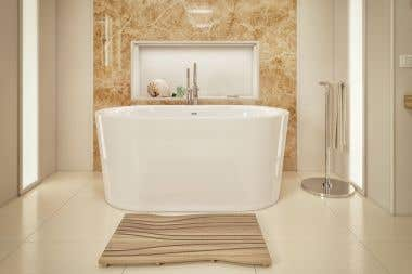 Purescape 59 Inch Acrylic Freestanding Double Ended Bathtub