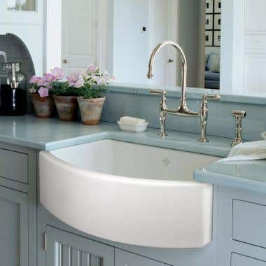 Rohl Shaws Waterside Fireclay Apron Front Single Bowl Sink