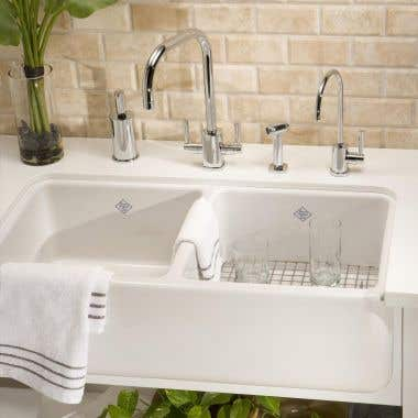 Rohl Shaws Farnworth Fireclay Apron Front Double Bowl Kitchen Sink