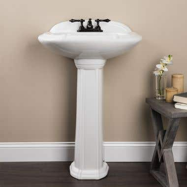 Greco 25 Inch Pedestal Sink - 4 Inch Faucet Drillings