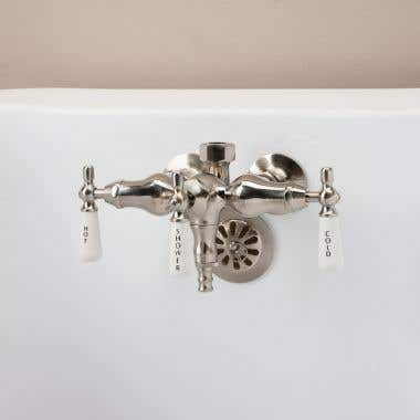Clawfoot Tub Wall Mount Downspout Faucet with Porcelain Lever Handles for Riser Connection