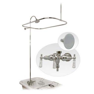 Randolph Morris Clawfoot Tub Shower Enclosure with Faucet and Metal Showerhead