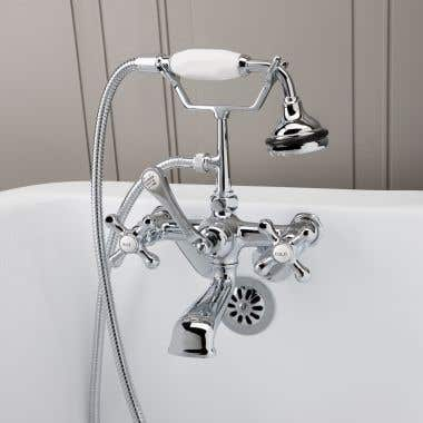 Chrome Low Spout British Telephone Clawfoot Faucet with Handshower & Metal Cross Handles