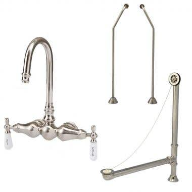 Randolph Morris Faucet Set: Wall Mount High Spout Clawfoot Tub Faucet, Drain and Supply Lines