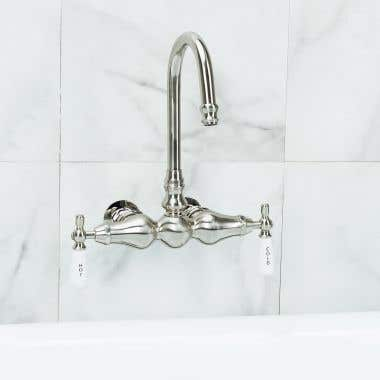 Brushed Nickel Bathroom Wall Mount Clawfoot Bathtub Faucet