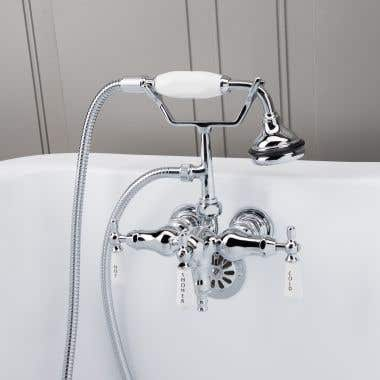 Chrome - Clawfoot Tub Wall Mount Downspout Faucet with Handshower