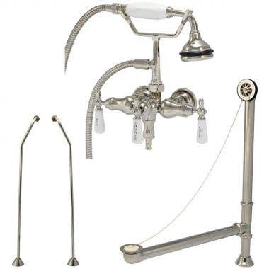 Randolph Morris Faucet Set: Clawfoot Tub Wall Mounted Down Spout Faucet, Drain and Supply Lines