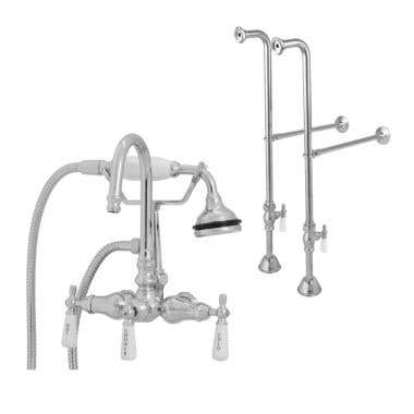 Randolph Morris Freestanding Gooseneck Clawfoot Tub Faucet with Handshower