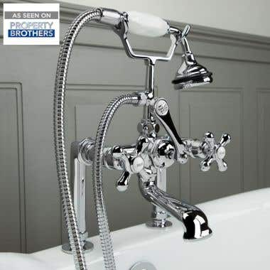 Chrome Clawfoot Tub Rim Mount English Telephone Faucet with Handshower