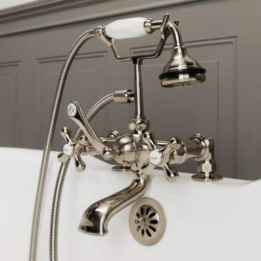 Brushed Nickel Deck Mount British Telephone Clawfoot Tub Faucet w/ Handshower