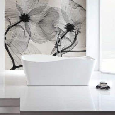 Rembrandt 59 Inch Acrylic Double Ended Freestanding Tub - No Faucet Drillings