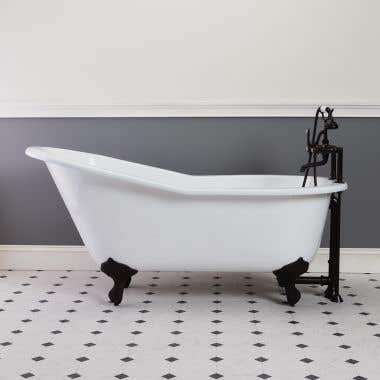 Brushed Nickel Cast Iron Slipper Clawfoot Tub