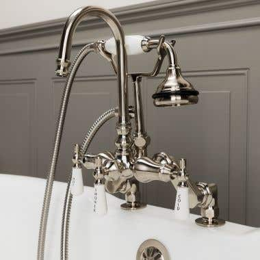 Brushed Nickel Deck Mount High Spout Clawfoot Tub Faucet w/ Handshower