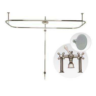 Randolph Morris Side Deck Mount Clawfoot Tub Shower Enclosure with English Telephone Faucet and Showerhead