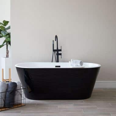 Terra Acrylic Double Ended Freestanding Tub with Rear Center Drain - No Faucet Drillings