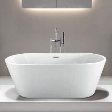 Drain - Milly 67 Inch Acrylic Double Ended Freestanding Tub with End Drain - No Faucet Drillings