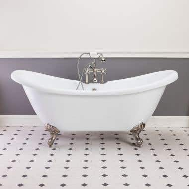 Randolph Morris Florence 70 In Acrylic Double Slipper Clawfoot Tub - Rim Faucet Drillings
