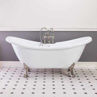 FLORENCE 70 INCH ACRYLIC DOUBLE SLIPPER CLAWFOOT TUB - RIM FAUCET DRILLINGS - LION PAW FEET