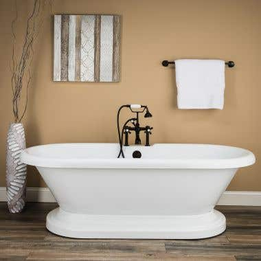 Randolph Morris 71 Inch Acrylic Double Ended Pedestal Tub with Rim Drillings