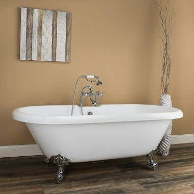 Halifax 70 Inch Acrylic Double Ended Clawfoot Tub - Rim Faucet Drillings - Imperial Ball & Claw Feet