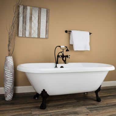Oakmont 70 Inch Acrylic Double Ended Clawfoot Tub - Rim Faucet Drillings - Lion Paw Feet