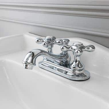 Randolph Morris Teapot Centerset Bathroom Sink Faucet with Metal Cross Handles