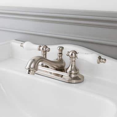 Randolph Morris Teapot Centerset Bathroom Sink Faucet - Porcelain Lever Handles