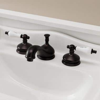 Randolph Morris Teapot Widespread Bathroom Sink Faucet with Porcelain Lever Handles