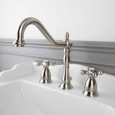 Randolph Morris Victoria Widespread Bathroom Sink Faucet with Metal Cross Handles