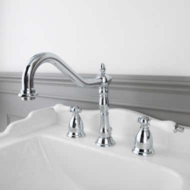 Randolph Morris Victorian Widespread Bathroom Sink Faucet with Porcelain Lever Handles