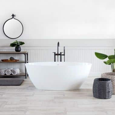 Angle View - Gloss White - Costera CapeStone Double Ended Tub