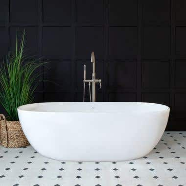Irelia 65 Inch Resin Double Ended Tub - Gloss White