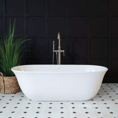 Leontine 63 Inch Resin Double Ended Tub - Gloss White