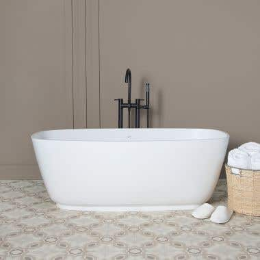 Ellery 59 Inch Resin Double Ended Tub - Gloss White