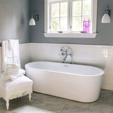 Mia 63 Inch Acrylic Double Ended Freestanding Tub - No Faucet Drillings
