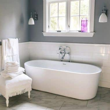 67 Inch Acrylic Double Ended Freestanding Tub - No Faucet Drillings