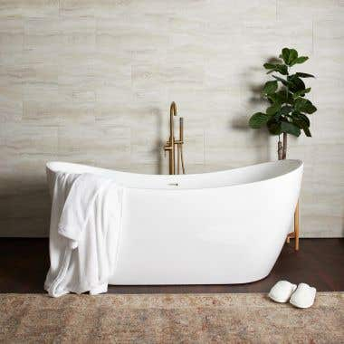 Philo 71 Inch Acrylic Double Ended Freestanding Tub - No Faucet Drillings