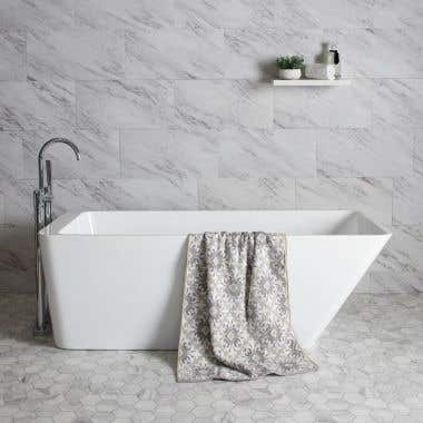 White / Polished Brass Drain - Hannah 59 Inch Acrylic Contemporary Freestanding Bathtub - No Faucet Drillings