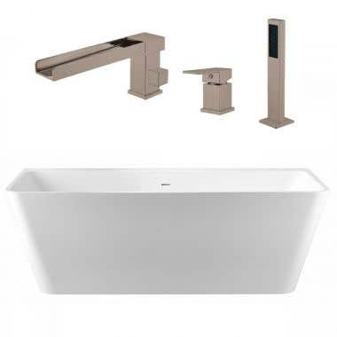 Axton 59 Inch Acrylic Double Ended Freestanding Bathtub Package