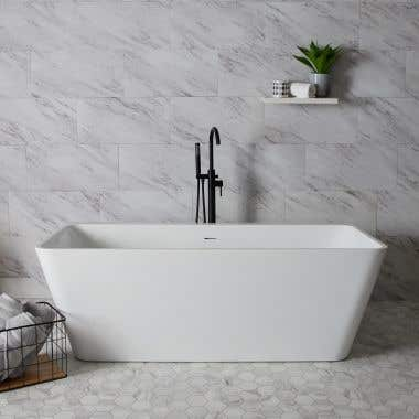 White / Polished Brass Drain - Axton 59 Inch Acrylic Double Ended Freestanding Tub