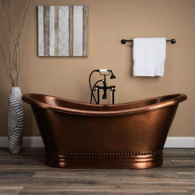 Duncan 66 Inch Copper Freestanding Double Slipper Bathtub
