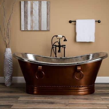 Jose 66 Inch Copper Freestanding Double Slipper Bathtub