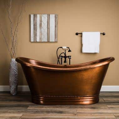 Harlow 71 Inch Copper Freestanding Double Slipper Bathtub
