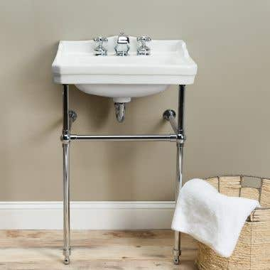 "8"" Centers - Chrome Console Bathroom Sink"