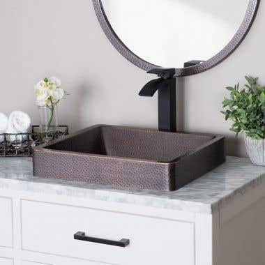 Skirted Semi-Recessed Hammered Copper Sink